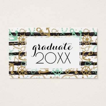 Beach Themed Photo Graduation | Sea Anchor Pattern Business Card