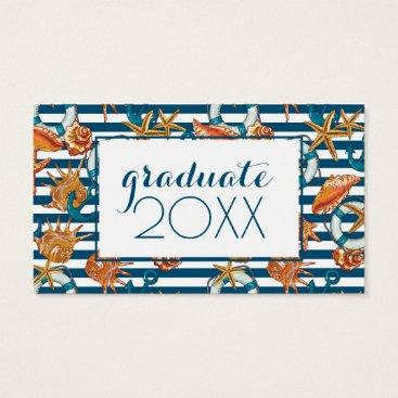Beach Themed Photo Graduation | Sea Shells And Anchor Pattern Business Card