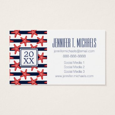Beach Themed Photo Graduation | Stars And Stripes Pattern Business Card