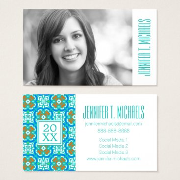 Aztec Themed Photo Graduation | Teal Ethnic Pattern Business Card