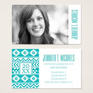 Aztec Themed Photo Graduation | Teal Grunge Aztec Business Card