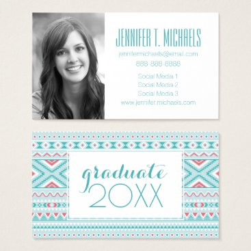 Aztec Themed Photo Graduation | Teal & Pink Aztec Business Card