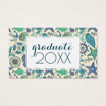 Beach Themed Photo Graduation | Teal Sea Animals Pattern Business Card