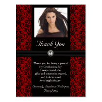 Photo Graduation Thank You Card Black/Red Damask