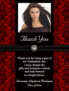 photo graduation thank you card blackred damask - Graduation Thank You Cards