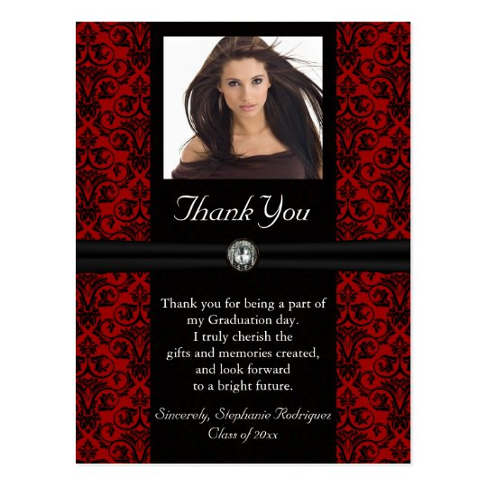 photo graduation thank you card blackred damask