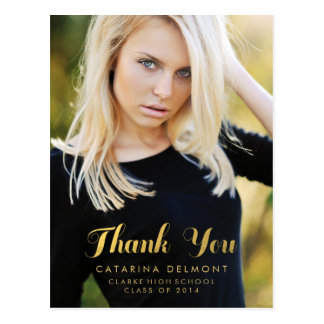 Photo Graduation Thank You High School Gold Foil Post Card