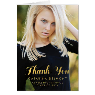 Photo Graduation Thank You High School Gold Foil Stationery Note Card