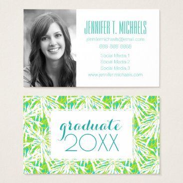 Beach Themed Photo Graduation | Tropical Palm Leaves Pattern Business Card