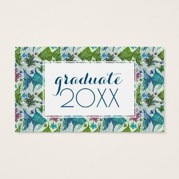Beach Themed Photo Graduation | Vintage Fish Pattern Business Card