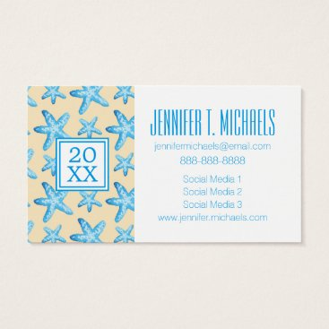 Beach Themed Photo Graduation | Watercolor Blue Starfish Business Card