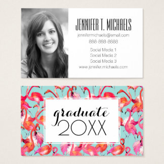 Photo Graduation | Watercolor Flamingos Gathered Business Card