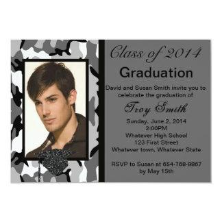 Photo Gray Camo Graduation Invitation