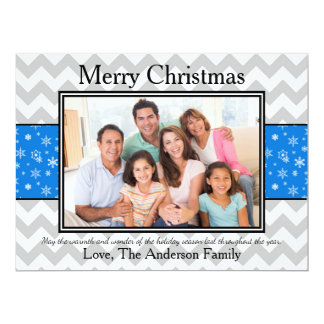 Photo Gray Chevron Blue Snow - 6x8 Christmas Card