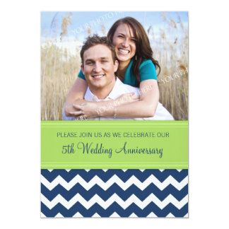 Photo Green Blue 5th Anniversary Invitation