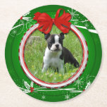 """Photo Green Red Holly Berries Ribbon Paper Coaster<br><div class=""""desc"""">Photo Green and Red with Holly and Berries with Ribbon Paper Coasters. Personalize with your own photo.</div>"""