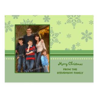 Photo Green Snowflakes Merry Christmas Postcards