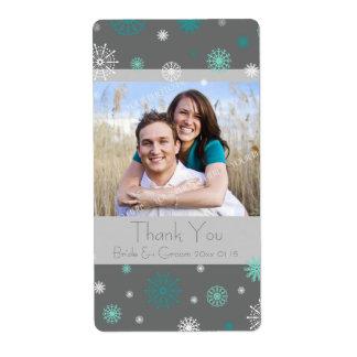Photo Grey Aqua Snowflakes Winter Wedding Labels