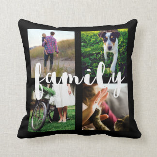 Photo Grid in Black with White Family Typography Throw Pillow