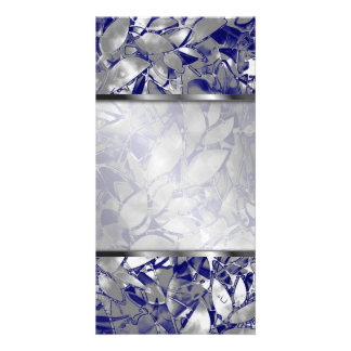 Photo Grunge Art Silver Floral Abstract Picture Card