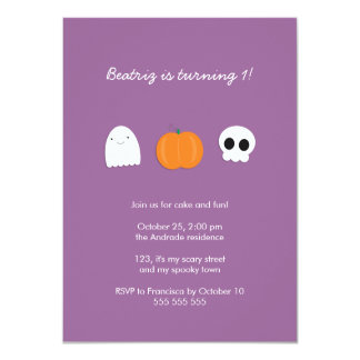 Photo Halloween Birthday Party Purple 1st Birthday 4.5x6.25 Paper Invitation Card
