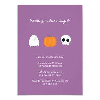 Photo Halloween Birthday Party Purple 1st Birthday Card