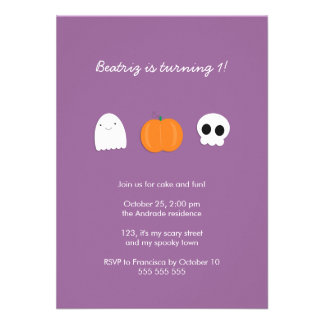 Photo Halloween Birthday Party Purple 1st Birthday Personalized Invitations