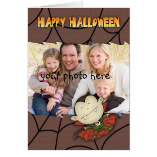 photo halloween card with cute vampire boy
