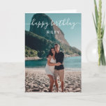 "Photo Happy Birthday Card<br><div class=""desc"">Modern Happy Birthday greeting card features a handwritten calligraphy font. Add your own photo on the front and message inside the card.</div>"