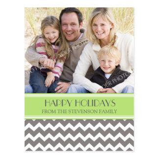 Photo Happy Holidays Postcard Green Grey Chevron