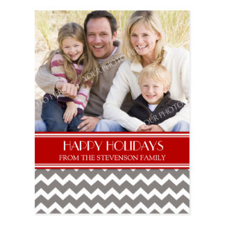Photo Happy Holidays Postcard Red Grey Chevron