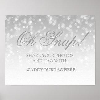 Photo Hashtag Wedding Sign Silver Bokeh Lights