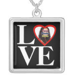 Photo Heart Frame LOVE Black and White with Red Square Pendant Necklace