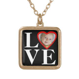 Photo Heart Frame LOVE Black/White/Red Gold Plated Necklace