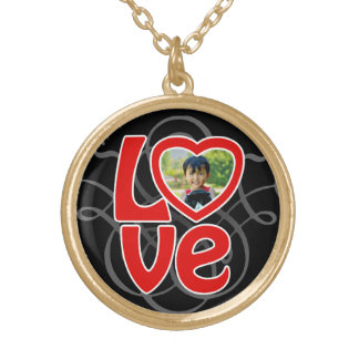 Photo Heart Frame LOVE Color Photo Mother's Day Gold Plated Necklace