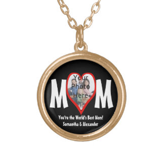 Photo Heart Frame MOM Black/White/Red Personalized Round Pendant Necklace