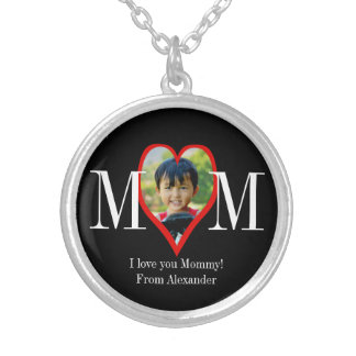 Photo Heart Frame MOM Personalized Mother's Day Round Pendant Necklace