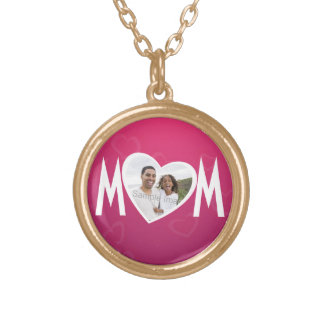 Photo Heart Frame MOM Pink/White Round Pendant Necklace