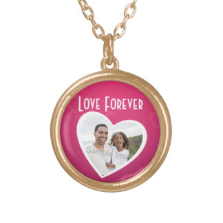 Photo Heart Frame Personalized Pink/White Custom Necklace