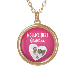 Photo Heart Frame World's Best Grandma Pink/White Gold Plated Necklace