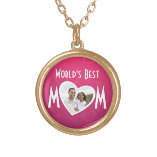 Photo Heart Frame World's Best MOM Pink/White Round Pendant Necklace
