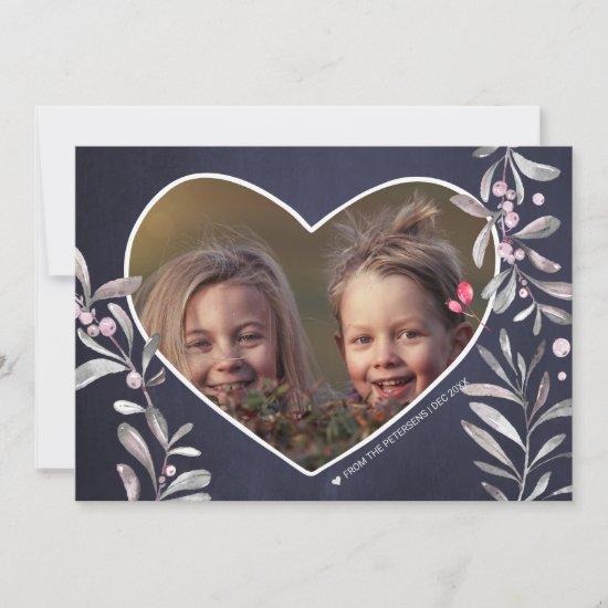 PHOTO Heart Holy Berry Silver Grey Foliage Navy Holiday Card