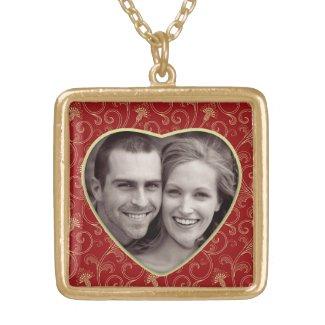 Photo Heart Medium Gold Finish Necklace