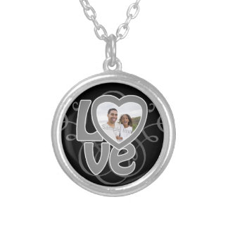 Photo Heart Swirl Frame LOVE Valentine's Day Silver Plated Necklace