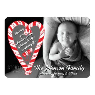 Photo Holiday Card: Candy Cane Heart Photo Card