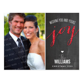 PHOTO HOLIDAY CARD chalkboard glitter type red