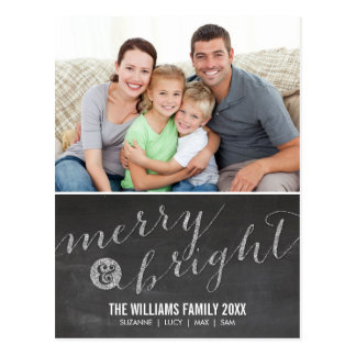 PHOTO HOLIDAY CARD chalkboard glitter type silver