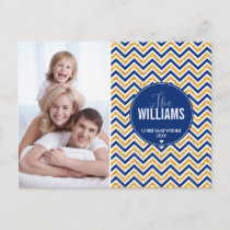 PHOTO HOLIDAY CARD chevron glitter gold navy blue