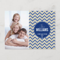 PHOTO HOLIDAY CARD chevron glitter pale gold navy