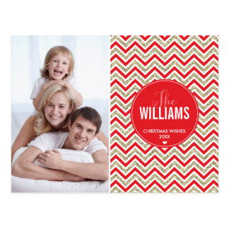 PHOTO HOLIDAY CARD chevron glitter pale gold red